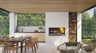 Escea EK950 Outdoor Wood Fireplace Kitchen